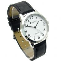 Ravel Mens Super-Clear Easy Read Quartz Watch Black Strap White Face R0132.01.1